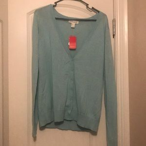 Teal button up sweater